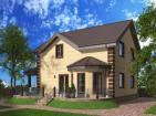Одноэтажный жилой дом с мансардой и террасой.